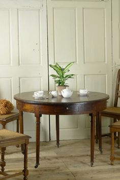 French Antique Wooden Round Table