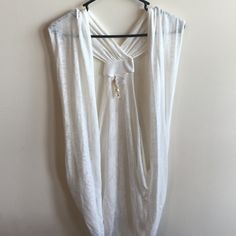 Sheer White Cover Cardigan New without tags: Beautiful sheer white sleeveless cover top / cardigan that falls below your behind. Size X-Large. Eyeshadow Tops Blouses