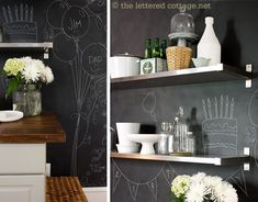 Lots of great chalkboard wall inspiration.