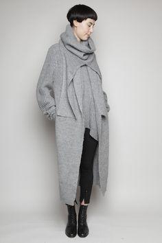 Totokaelo - 3.1 Phillip Lim - Long Coat Cardigan - Grey Melange