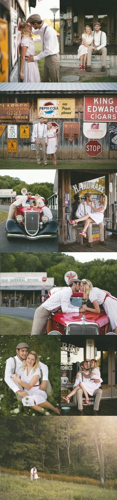 "Just got engaged? Need some inspiration for a unique engagement shoot? Look no further! On my blog I've compiled a list of fun ideas for you and your significant other. While reminiscing on my engagement photos with a ""The Notebook"" / Retro / Old time feel theme  Wifey + Lifey"