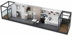 Plans To Design And Build A Container Home - This sites formatting is a little weird but its the only place I found the Idea of making three shipping containers into two apartments - see the floor plan Plans To Design And Build A Container Home - Studio Apartment Floor Plans, Apartment Plans, Apartment Design, House Floor Plans, Bedroom Apartment, Apartment Layout, Container Home Designs, Building A Container Home, Container House Plans