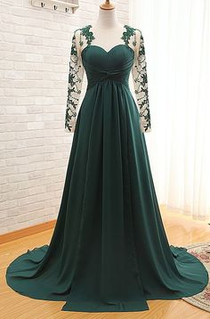 Sheer Dark Green 2015 Prom Dress, Chiffon Elegant Evening Dress