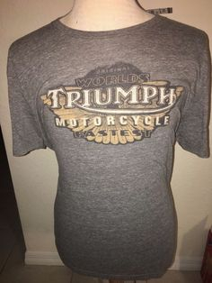 Lucky Brand LB Triumph Worlds Fastest Motorcycles T Shirt Mens Large Gray NWT  #LuckyBrand #GraphicTee