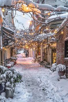 ideas for nature winter wonderland snow scenes Winter Szenen, Winter Magic, Winter Season, Winter Walk, Winter Love, Winter Months, Christmas Scenes, Christmas Lights, Quebec City Christmas