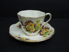 Antique Teacup Set by Salisbury Bone China England - Floral
