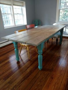 Beachy farmhouse table that I made with turned legs and a whitewash top