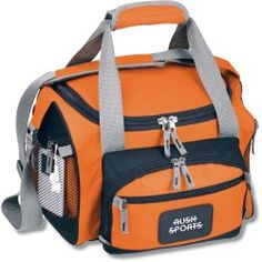 """""""I love this cooler! It's great. It held up especially well during football season. I first used it during my son Steven's football practices and games. It kept his sport hydration beverages, water bottlers and snacks icy cold with ice packs inside and didn't leak. I have two at home, one purple and one hunter green, in this size. Plus, the outside pockets were roomy for many essentials."""" Wendi with 4imprint 16 years"""