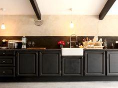Cuisine appart on pinterest plan de travail cuisine and - Cuisine noir plan de travail bois ...