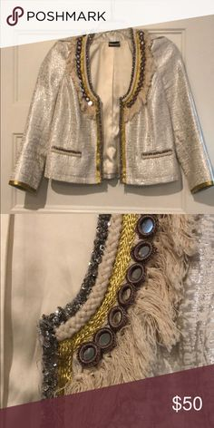 1287d11475eae Guess by Marciano jacket cream gold silver Cream jacket with silver and  gold detail. Mirrored