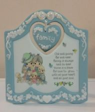 "1996 PORCELAIN PRECIOUS MOMENTS Plaque ""FAMILY"" w/Easel PASTEL BLUE / White L@@K"
