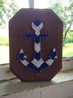 Chevron Anchor Custom String Art Design beach by BlossomsNKnots