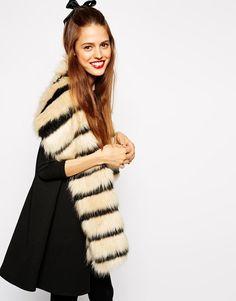 ASOS | ASOS Faux Fur Stripe Mono Collar at ASOS