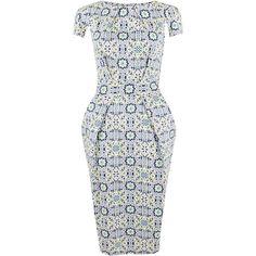 Closet Mosaic Print Tie Back Dress, Multi (260 PLN) ❤ liked on Polyvore featuring dresses, cotton dress, floral dress, maxi dress, floral print dress and cap sleeve maxi dress