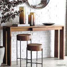 Jane Console Table available in high gloss white or natural walnut finish with stainless steel metal part. Bamboo Furniture, Reclaimed Furniture, Accent Furniture, Traditional Console Tables, Recycled Home Decor, Small Lamps, Rustic Mirrors, Home Decor Online, Rustic Lighting