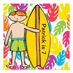 Our customizable Redhead Boy Surfer birthday invitations are easy to customize with your name and party information. Colorful and summer themed, great for swimming parties, pool parties, surfing theme parties! #birthday #swim #surf #surfing #surfer #boys #custom #customized #personalized #summer #tropical #kids #peacockcards #party #parties #water #sports