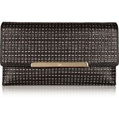 Christian Louboutin Rougissime Optic woven leather clutch ($990) ❤ liked on Polyvore featuring bags, handbags, clutches, black, christian louboutin purse, christian louboutin, woven leather handbags, leather clutches and strap purse
