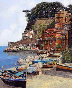 Pintor del Paisajes Europeo Guido Borelli, (taliano) Pueblitos Pintados en Óleo