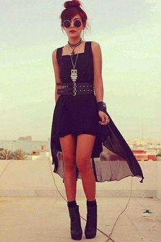 beautiful dress, black clothes, black dress, bun hair, girl, soft grunge, sun glass