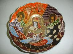 ANTIQUE JAPANESE SATSUMA BOWL HANDPAINTED RAISED DECORATION POTTERY PORCELAIN #RT #JAPAN #SATSUMA