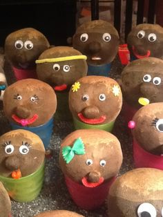 Grass Heads...fun to do with the kids. Grass grows up through for their hair!