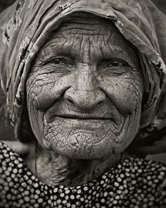 Look at how truely beautiful this woman's is. I love the wrinkles and her eyes.