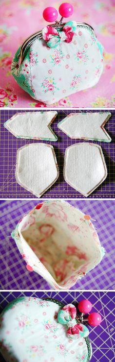 Metal Frame Purse / Clutch Sewing Tutorial. Step by step DIY.   http://www.handmadiya.com/2016/02/frame-purse-sewing-tutorial.html
