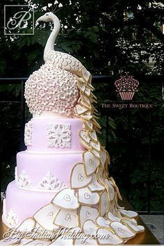The Sweet Boutique peacock-inspired wedding cake