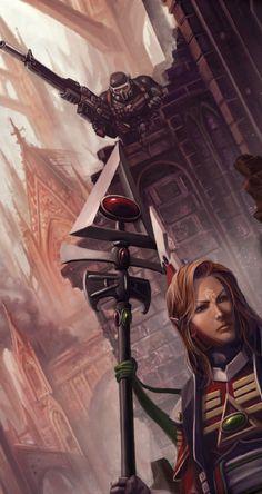 Vindicare assassin stalking an Eldar Farseer Fantasy Battle, High Fantasy, Fantasy Art, Eldar 40k, Dark Eldar, Warhammer 40k Rpg, Warhammer Fantasy, Eldar Farseer, Geek Art