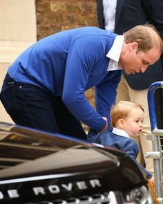 Prince William, Duke of Cambridge and Prince George of Cambridge arrive at the Lindo Wing after Catherine, Duchess of Cambridge gave birth to a baby girl at St Mary's Hospital on May 2, 2015 in London, England.