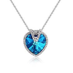 "18K White Gold Plated with Crystal Heart Necklace 18"",Unique Gifts for Girlfriend,Wife,Birthday >>> Details can be found by clicking on the image."