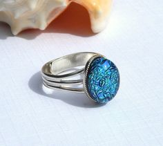 Dichroic Glass Ring  Fused Glass Jewelry  Emerald by TremoughGlass, $19.00