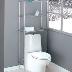 Good Apply Over The Toilet Storage To Maximize Your Bathroom Space   Clean Grey  Painted Wall For Fascinating Bathroom With Glossy Metal Over The Toilet  Storage ...