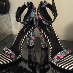 """Brand New floral and stripes heels Absolutely beautiful 4"""" heels make a statement this spring and summer! Lime light Shoes Heels"""