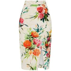 Oasis Floral Pencil Skirt, Multi/Natural (4.580 RUB) ❤ liked on Polyvore featuring skirts, patterned pencil skirt, high waisted skirts, high-waist skirt, midi skirt and floral print skirt
