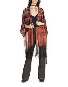 2495472b4ac1 Burnout Printed Velvet Kimono with Fringing
