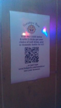 QR code for a drink special at a bar