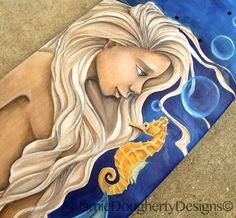 Oil and graphite on wood Skateboard Deck by Jamie Dougherty #ElementEdenArtSearch