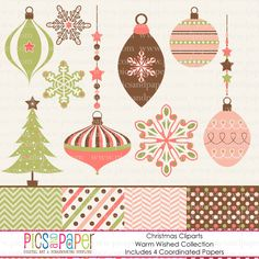 Christmas Cliparts and Matching Paper Set
