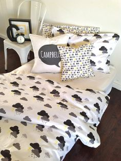 PREORDER Stormy Single Bed Quilt cover set by AlphabetMonkey, $240.00