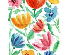Anemone bouquet Print Anemones art print Still by TheJoyofColor