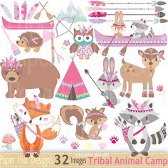 Girls Tribal Animals Clipart-Woodland Animals Camping Clip Art-Girls Pink Cute Tribal Forest Animals-Fox-Bear-Racoon-Owl-Deer-Canoe-Feathers by PaperHutDesigns on Etsy Camping Clipart, Forest Animals, Woodland Animals, Tribal Animals, Shower Bebe, Racoon, Le Far West, Animal Party, Cute Illustration