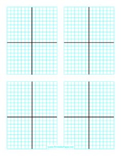 There are four Cartesian grids positioned on this lined (graph) paper with an axis for plotting graphs and other applications involving numerical coordinates. Free to download and print