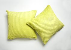 A Pair Of Chenille Stripe Cushion Covers Lime Green Cushions, Striped Cushions, Green Cushion Covers, Living Room Cushions, Pairs, Throw Pillows, Bed, Home, Link