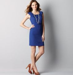 ruched cap sleeve dress. LOVE the ruched neck/sleeve. belt it, no necklace though
