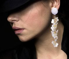 Long BonBons White Silk Earrings with pearl forget-me-not flowers on gold tone chain Clip On Fashion Lightweight Wedding Gift for Her