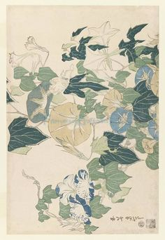 Morning Glories In Flowers And Buds 1832 oil painting by Famous Artist - Katsushika Hokusai