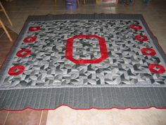 Ohio State Quilt.  Machine pieced and hand quilted.