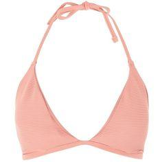 Topshop Fuller Bust Ribbed Triangle Bikini Top (£7) ❤ liked on Polyvore featuring swimwear, bikinis, bikini tops, blush, tie bikini, pink halter top, halter tankini tops, pink bikini top and halter tops