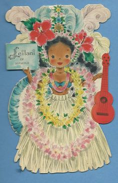 """LEILANI of Hawaii - HALLMARK Vintage Doll Card from the Dolls of the Nations Series -""""Aloha"""" time to hula, wear a lei, and play a ukulele!!!"""